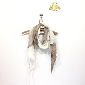 Accessories - Scarf white and gray greige ombre gauzy light